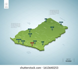 Stylized map of Ghana. Isometric 3D green map with cities, borders, capital Accra, regions. Vector illustration. Editable layers clearly labeled. English language.