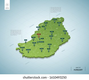 Stylized map of Hungary. Isometric 3D green map with cities, borders, capital Budapest, regions. Vector illustration. Editable layers clearly labeled. English language.