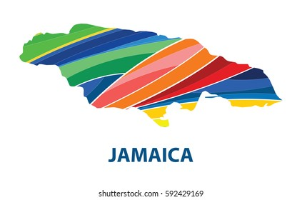 Stylized map of jamaica with abstract color stripes.vector illustration.