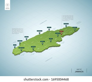 Stylized map of Jamaica. Isometric 3D green map with cities, borders, capital Kingston, regions. Vector illustration. Editable layers clearly labeled. English language.