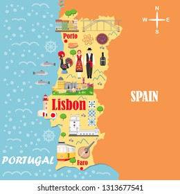 Stylized map of Portugal. Travel illustration with Portuguese landmarks, architecture, national costume and other symbols in flat style. Vector illustration