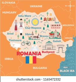 Stylized map of Romania. Travel illustration with romanian landmarks, architecture, national flag and other symbols in flat style. Vector illustration