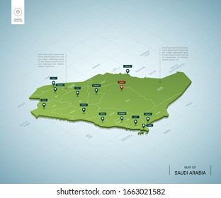 Stylized map of Saudi Arabia. Isometric 3D green map with cities, borders, capital  Riyadh, regions. Vector illustration. Editable layers clearly labeled. English language.
