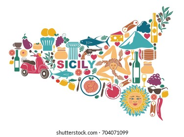 Stylized map of Sicily with traditional symbols of nature, cuisine and culture