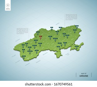 Stylized map of Ukraine. Isometric 3D green map with cities, borders, capital Kiev, regions. Vector illustration. Editable layers clearly labeled. English language.