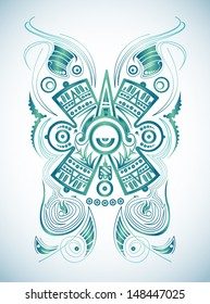Stylized Mayan symbol - tattoo, vector illustration - surf style
