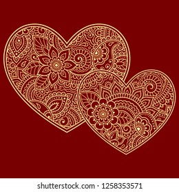 Stylized for mehndi flower colored pattern in form of heart. Decoration in ethnic oriental, Indian style. Valentine's day greetings.