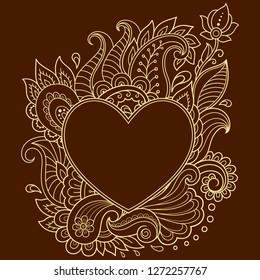 Stylized for mehndi flower pattern in form of heart. Decoration in ethnic oriental, Indian style. Valentine's day greetings.
