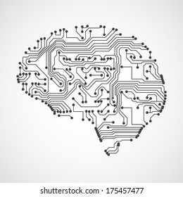 Stylized mind. Circuit board texture. EPS10 vector