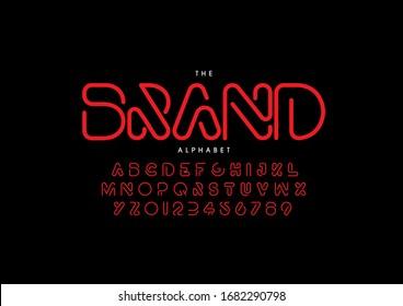 Stylized modern alphabet font, vector.