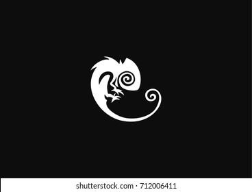 Stylized modern chameleon icon logo