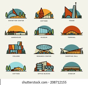 Stylized modern flat schematic city buildings set. Museum, Cottage, College, Office Blocks, Towers, Stadium, Marketplace, University, Warehouse, Terminal. Vector graphics collection, logo templates