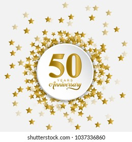 Stylized and modern Happy 50 years anniversary in the middle of fly out gold stars. Usable for birthday and wedding anniversary.