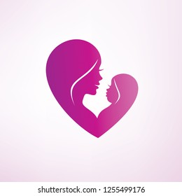 stylized mom and baby vector symbol