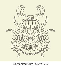 Stylized monochrome beetle/bug. Hand drawn vector illustration. Line Art. Adults/children anti stress coloring page