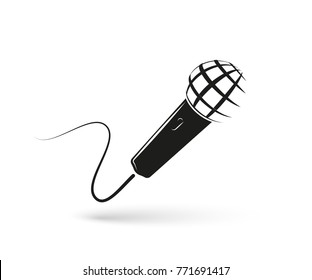 Stylized monochrome microphone on white background. Mic isolated logo. Vector illustration