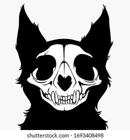 stylized Monochrome monster cat skull