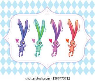 stylized multi-colored rabbit or hare, Wallpapers for kids