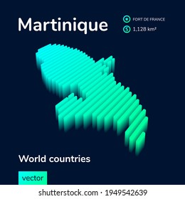 Stylized neon simple digital isometric striped vector 3d Martinique map. Map of Martinique is in green, turquoise and mint colors on the dark blue background