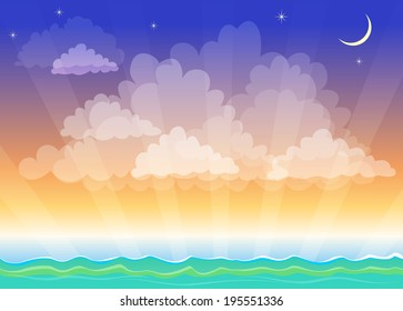 Stylized night landscape, sea, ocean, sky, the crescent and star
