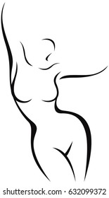 Stylized nude female body in the form of a linear silhouette vector illustration