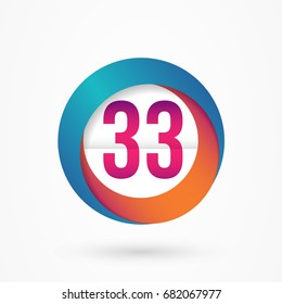 stylized number 33 design template