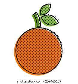 Stylized orange with a point texture. Pop-art style vector illustration.