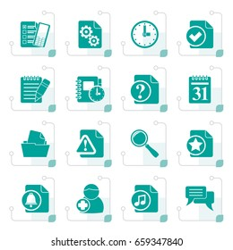 Stylized Organizer, communication and connection icons - vector icon set