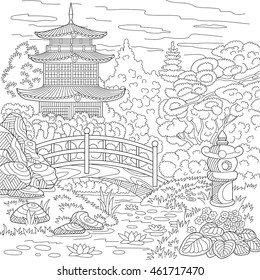 Stylized oriental temple - japanese or chinese tower pagoda. Landscape with trees, lake, stones, flowers. Freehand sketch for adult anti stress coloring book page with doodle and zentangle elements.