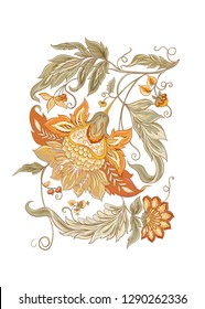 Stylized ornamental flowers in retro, vintage style. Jacobin embroidery. Colored vector illustration In In soft orange and green colors. Isolated on white background.