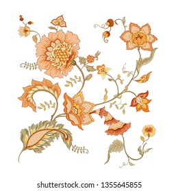 Stylized ornamental flowers in retro, vintage style. Jacobin embroidery. Colored vector illustration In soft orange and green colors. Isolated on white background.