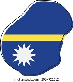 Stylized outline map of Nauru with national flag icon. Flag color map of Nauru vector illustration.
