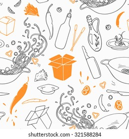 Stylized outline seamless pattern with hand drawn wok restaurant elements. Hipster background. Doodle asian cuisine. Vector illustration