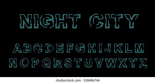 Stylized outline vector font design. Isolated modern english alphabet letters. Creative beautiful white latin font on black background. Stylized letters vector illustration. Typography. Typographic.