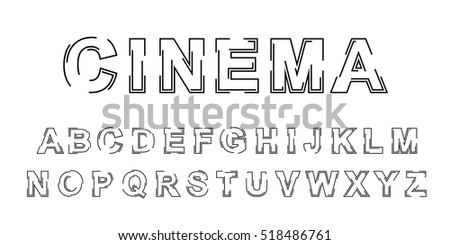 Stylized Outline Vector Font Design Isolated Stock Vector Royalty