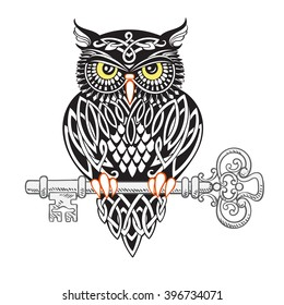 Stylized owl covered in Celtic patterns sits on an old ornate key