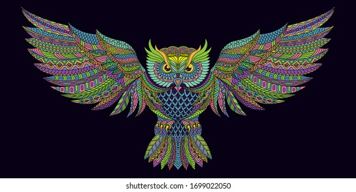 Stylized owl  in ethnic vector full color