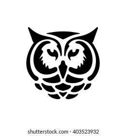 Stylized owl head. Silhouette of owl head for tattoo or stencil.