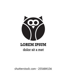 Stylized owl on white background. Logo design for company.