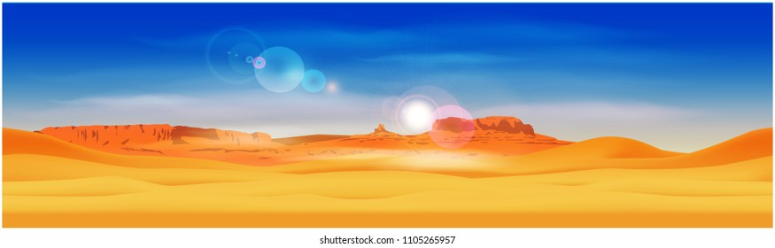 Stylized panorama of the desert against the background of the rocky mountains. Seamless horizontally if needed