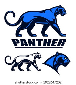 Stylized panther emblem set on the white background. Can be use as mascot.