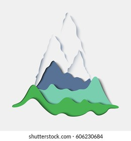 Stylized paper mountain landscape. Minimal stylish design.Vector paper art and craft style