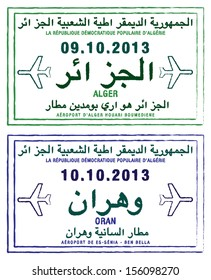 Stylized passport stamps of Algeria in vector format.