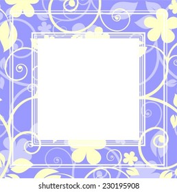 Stylized pattern with flowers and curves on a blue background.