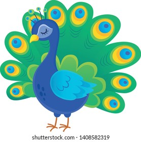 Stylized peacock topic image 1 - eps10 vector illustration.
