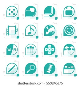 Stylized Phone Performance, Internet and Office Icons - Vector Icon Set