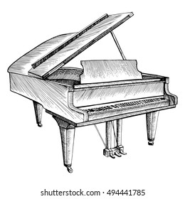 Stylized piano. Musical instrument. Graphic arts. Drawing by hand. Doodle. Tattoo.