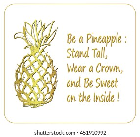 Pineapple Quotes Images, Stock Photos & Vectors   Shutterstock