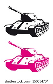 Stylized Pink and Black Tank Vector Set