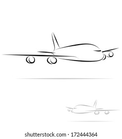 Stylized plane in outline mode. Isolated on white background. Vector illustration.